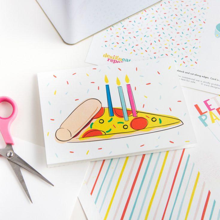 Pizza Printable Birthday Card
