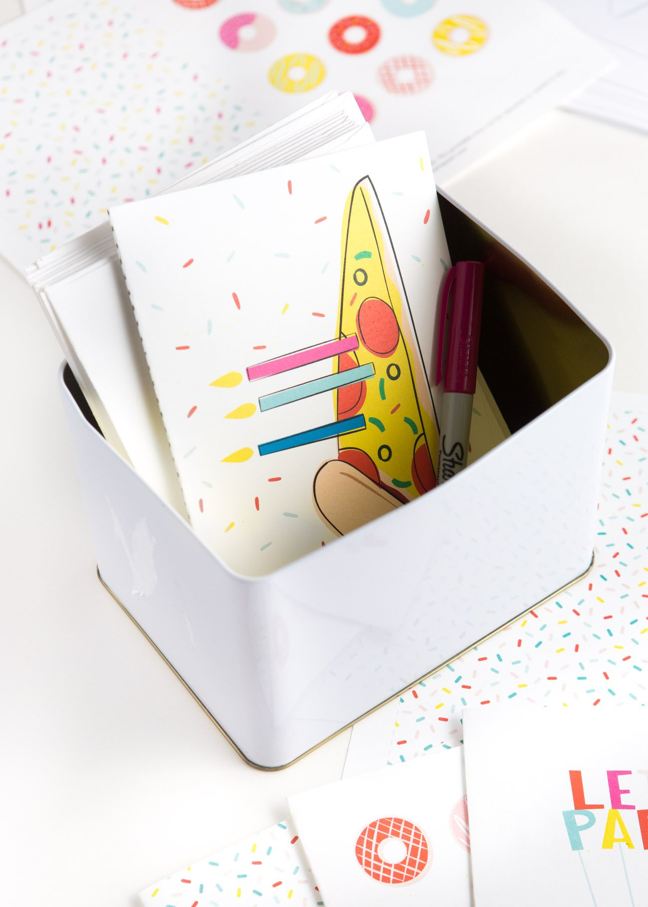 Box of greeting cards with Colorful Pizza Printable Birthday Card with Candles and Sprinkles