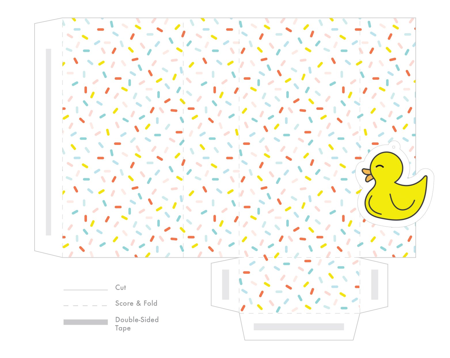 Dieline for printing sprinkle baby shower favor bag with rubber duck tag