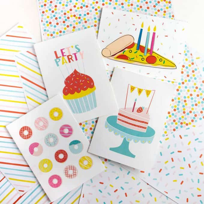 Assortment of colorful printable birthday cards; includes cupcake, pizza, cake, and donut designs