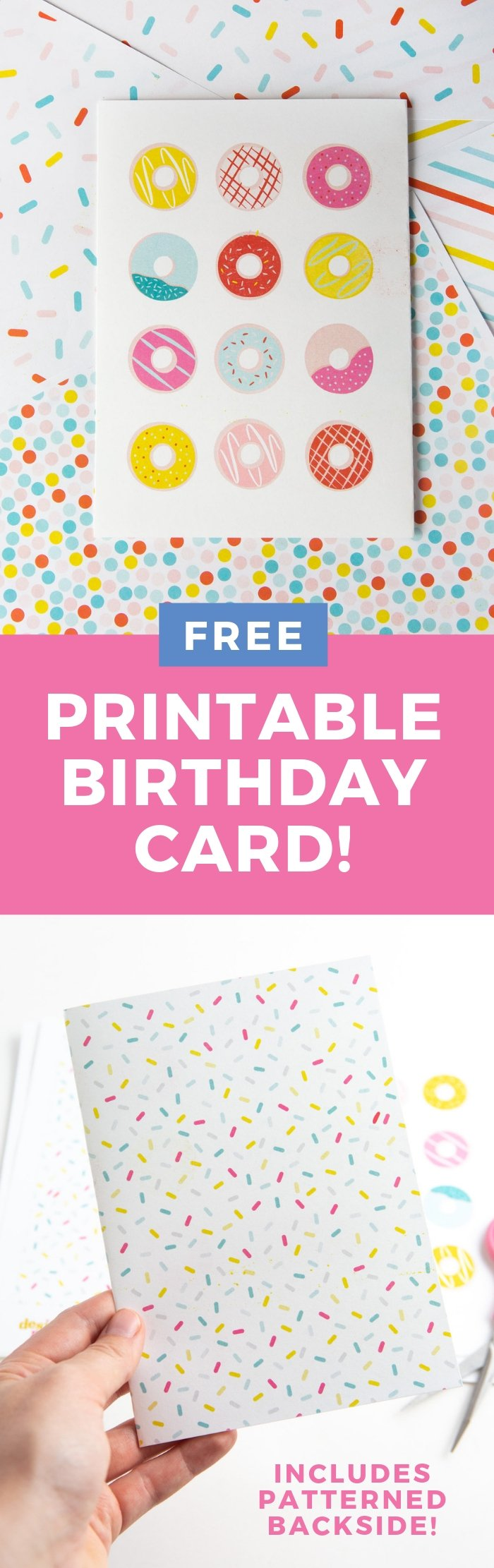 Attention donut lovers! This free #printable birthday card can be whipped up in 5 minutes and is the perfect homemade donut for any occasion!