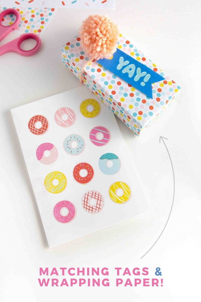 Free donut printable birthday card with printable gift wrap and a free YAY happy birthday gift tag