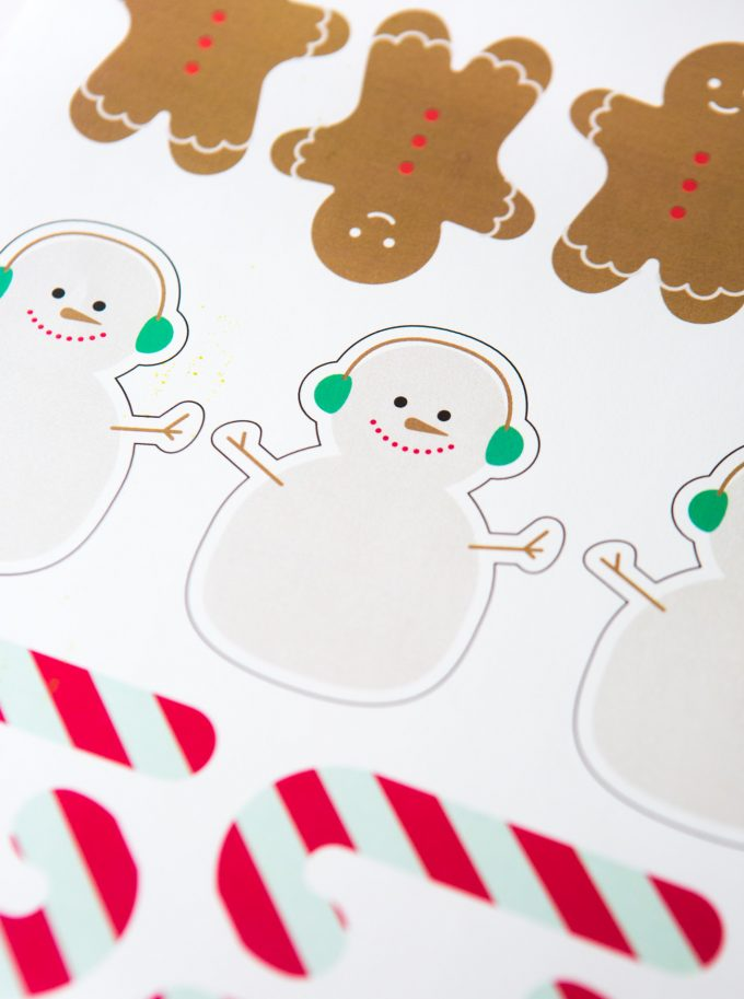 Snowman, gingerbread man, and candy cane printable Christmas gift tags
