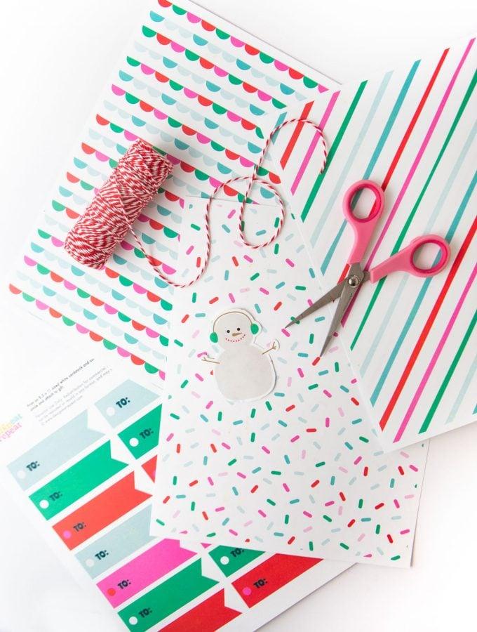 Printable Christmas wrapping paper and gift tags