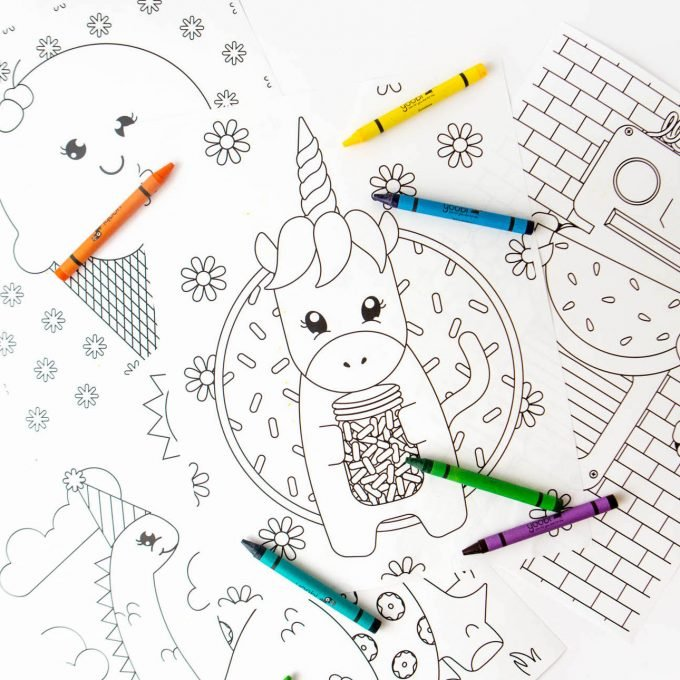 Coloring book pages of unicorn holding jar of sprinkles, ice cream cone, robot, and dinosaur
