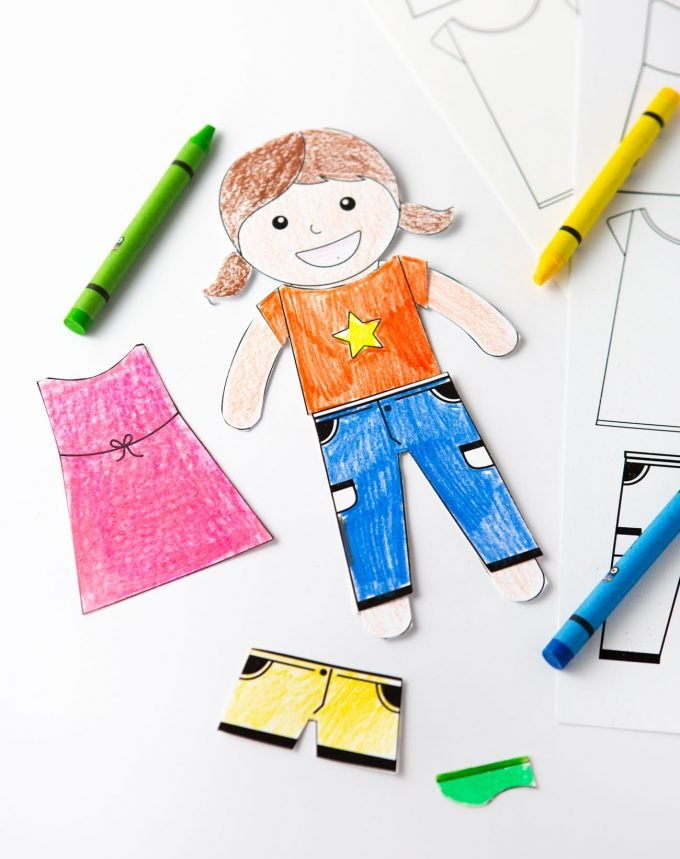 Printable paper doll colored with crayons