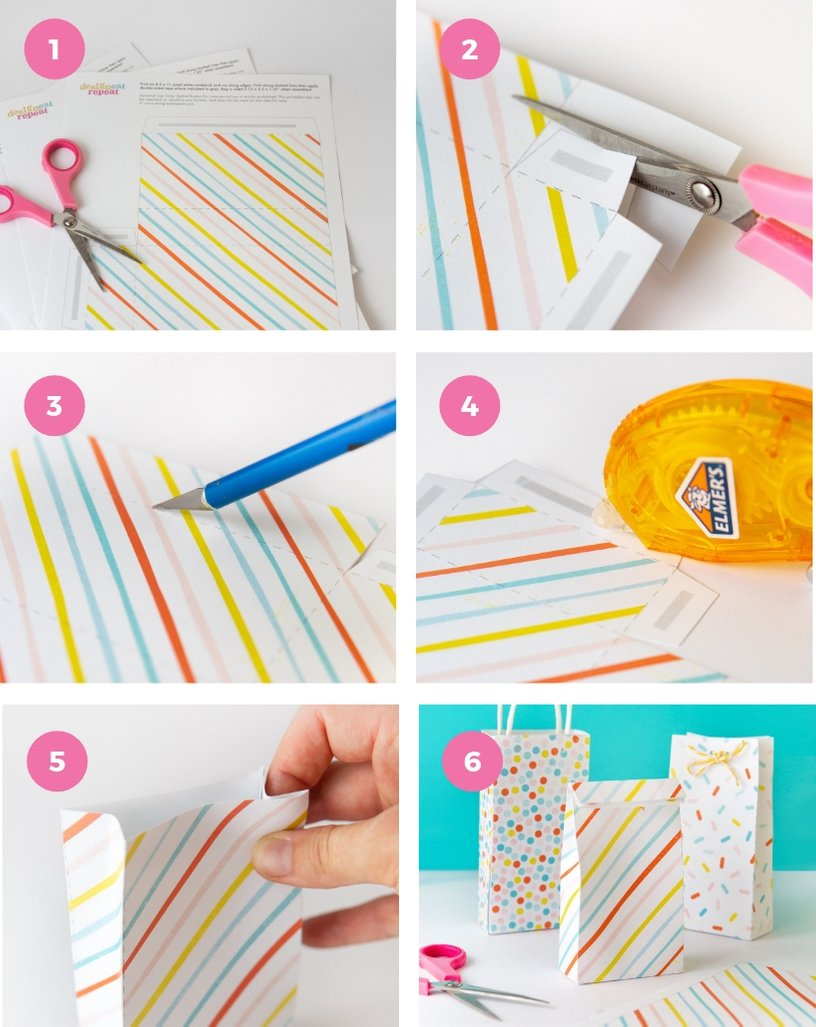 Step by step instructions on how to assemble baby shower favor bag