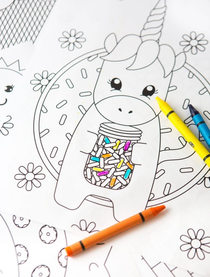 Coloring unicorn printable card with crayons