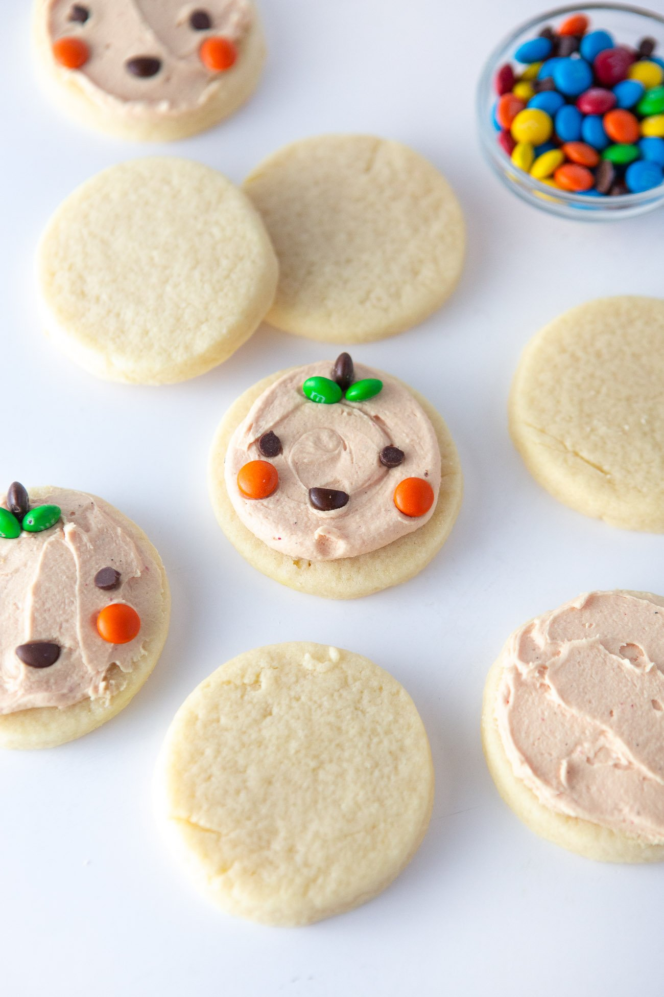 Easy Halloween Pumpkin Cookies using cut out sugar cookies and mini M&M's