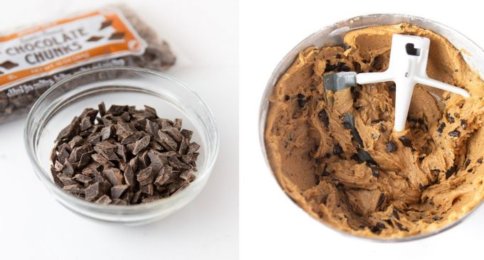 Bowl of chocolate chunks and bowl of mixed peanut butter chocolate chip cookie dough