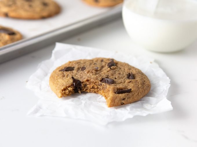 peanut butter chocolate chip cookie with bite