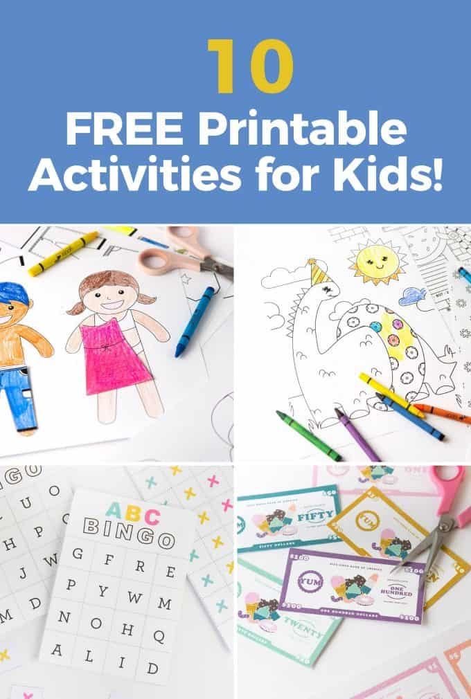 Collage of free printable activities for kids, including paper dolls, dinosaur coloring pages, abc bingo, and printable paper money
