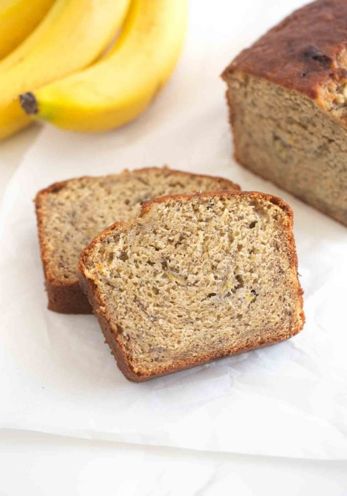 Slices of moist banana bread
