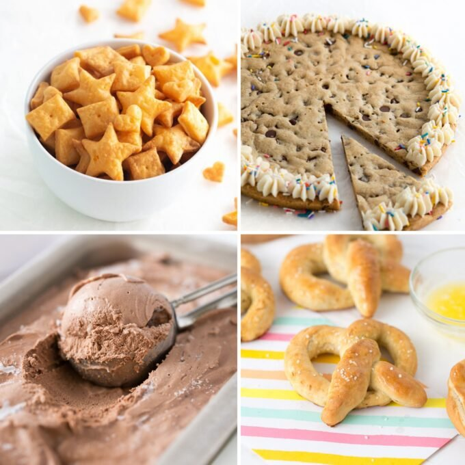 Colalge of bowl of homemade cheese crackers cut in star, heart, and square shapes, Cookie cake, chocolate ice cream scoop, and soft pretzel