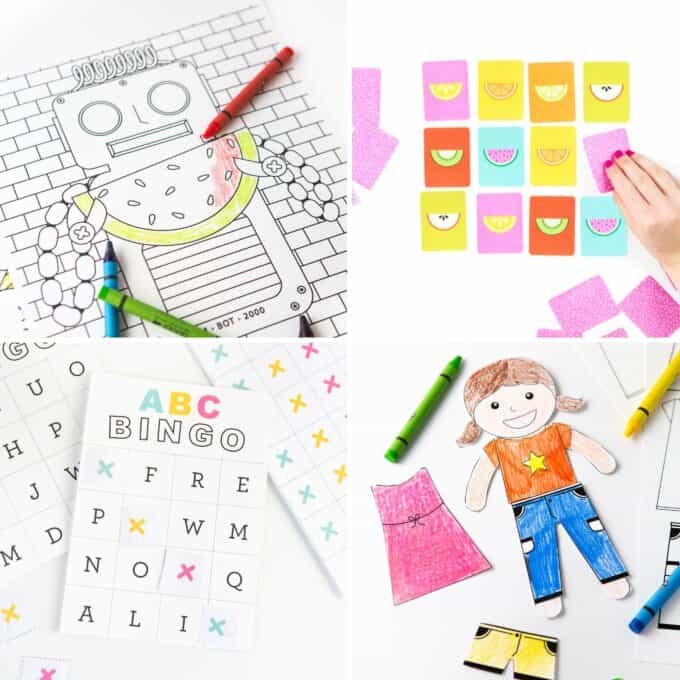 Collage of robot coloring page, fruit slice memory game with hand, abc bingo card, and coloring book paper doll