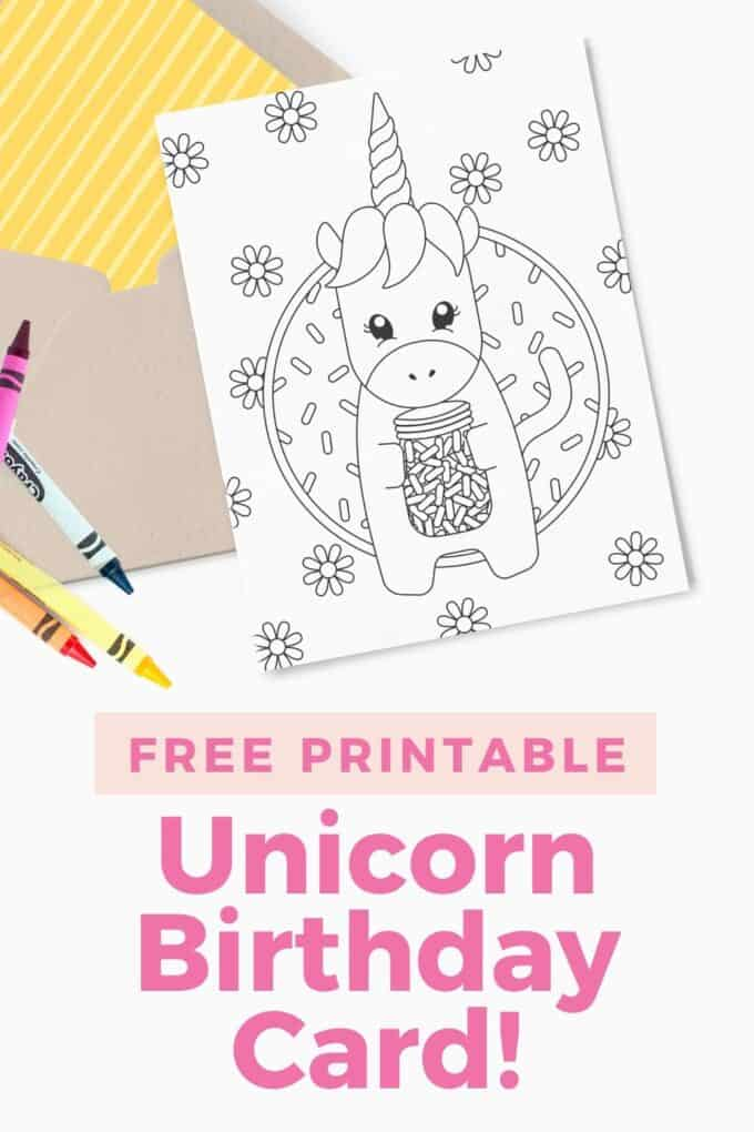 Printed 5x7 birthday card with unicorn sprinkle design. Includes kraft paper envelope and crayons