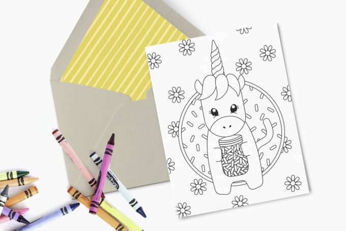 Printed 5x7 birthday card with unicorn design. Includes kraft paper envelope and crayons