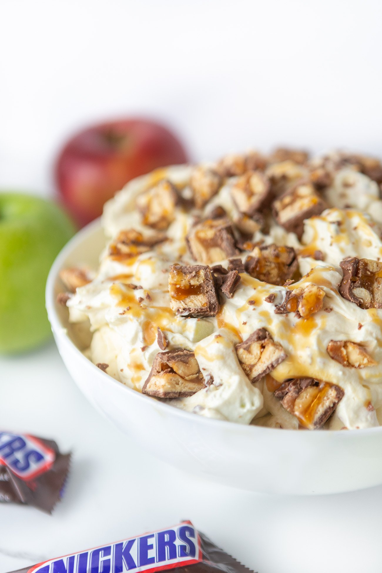 Bowl of creamy apple snickers salad dessert