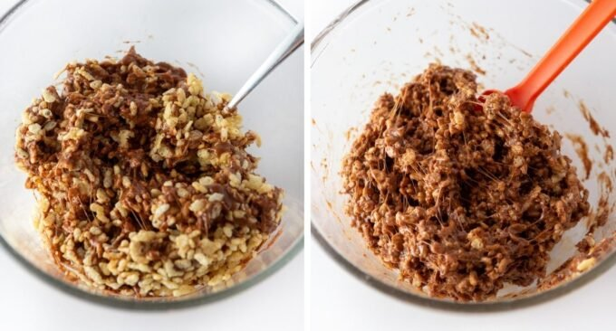 Step by step photo showing how to mix and coat the rice krispy cereal with the chocolate mixture