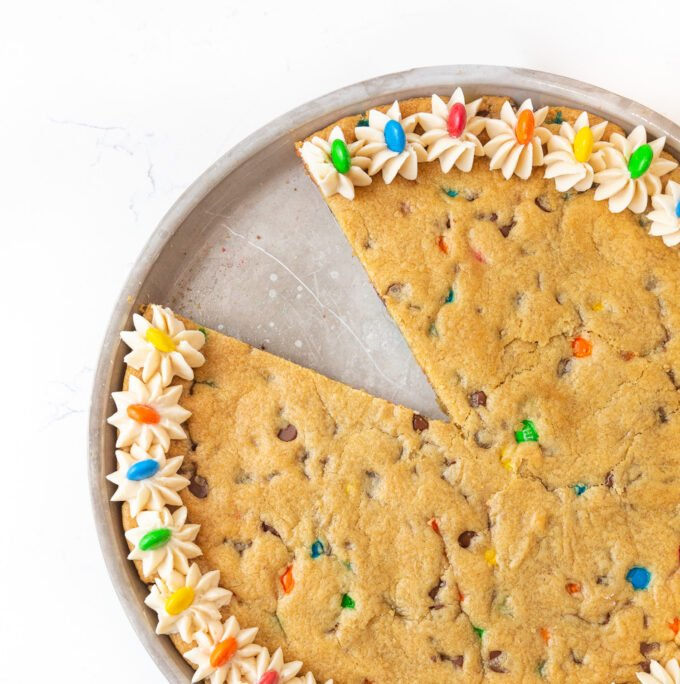 Frosted M&M cookie cake