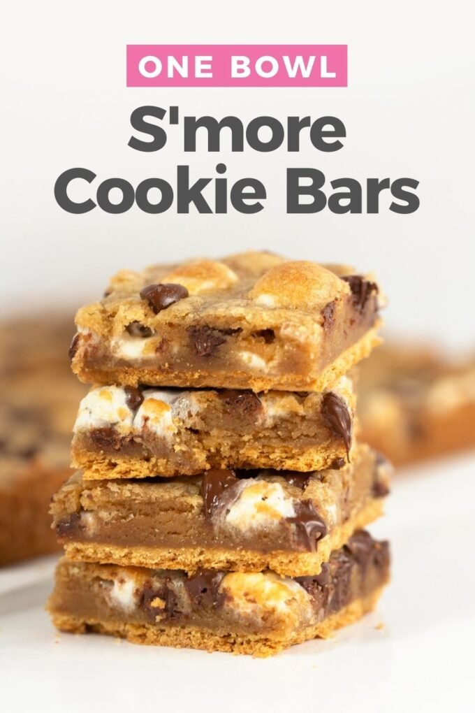 stacked s'more cookie bars squares
