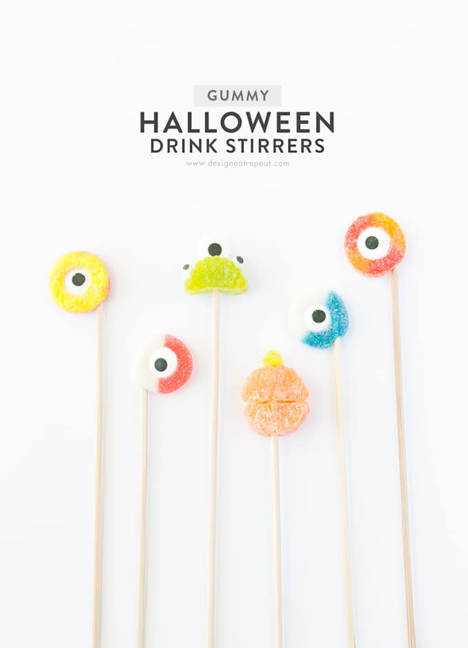 All you need are skewers, gummy rings, and candy eyeballs to make these DIY Halloween Drink Stirrers!