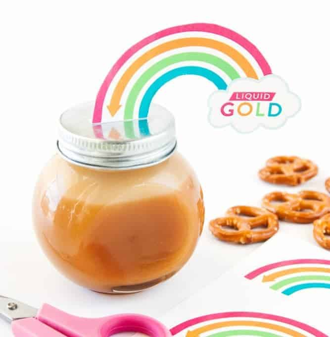 Attach these printable rainbow labels to homemade jars of caramel sauce for a fun St. Patrick's Day gift idea!