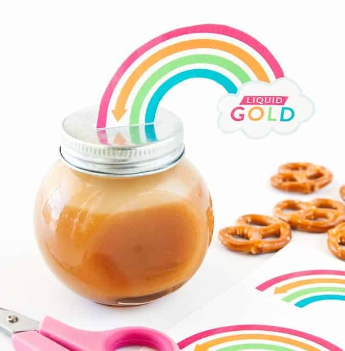 DIY Pot of Gold Caramel Jars + Free Rainbow Printables!
