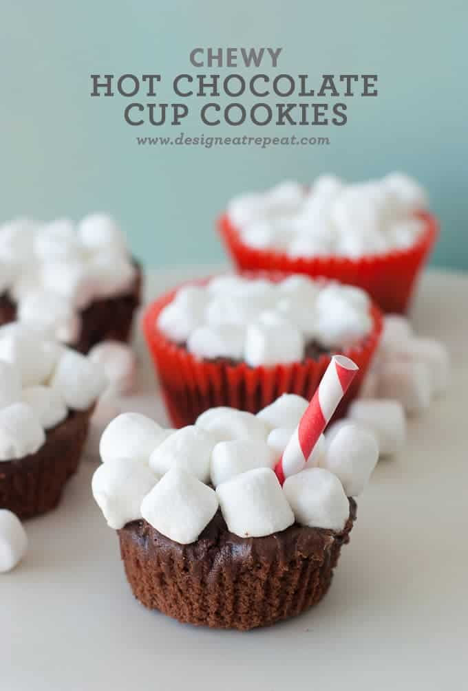 Chewy Hot Chocolate Cup Cookies | Design Eat Repeat