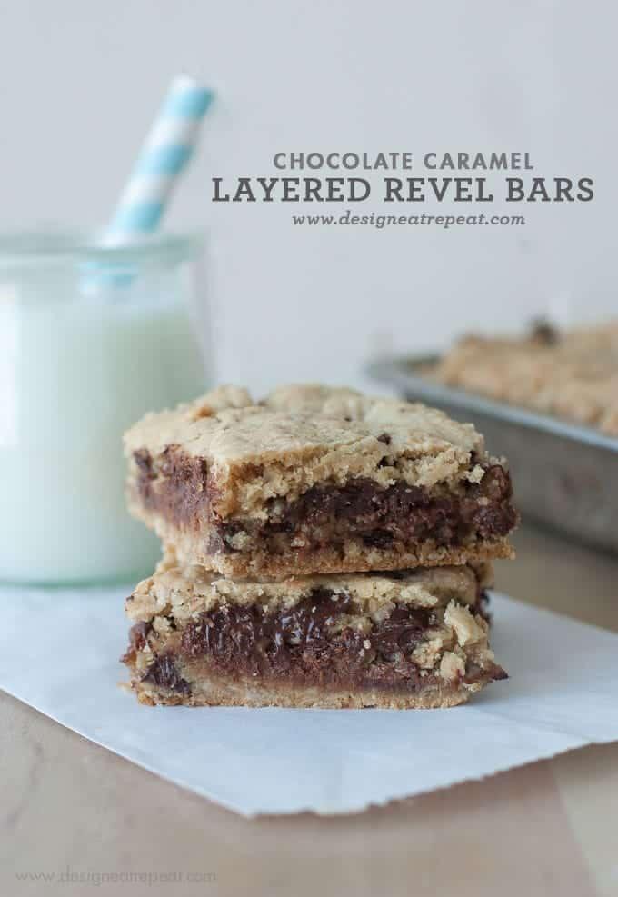 Chocolate Caramel Layered Revel Bars     by Design Eat Repeat
