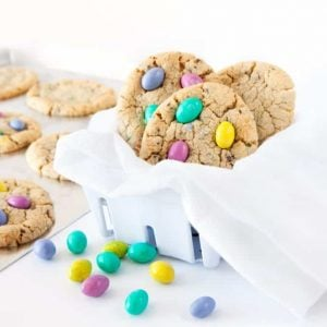 Chocolate Chip M&M Easter Egg Cookies! These are a family fave!