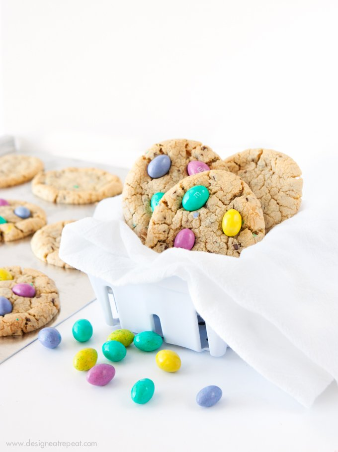 Chocolate Chip M&M Easter Egg Cookies