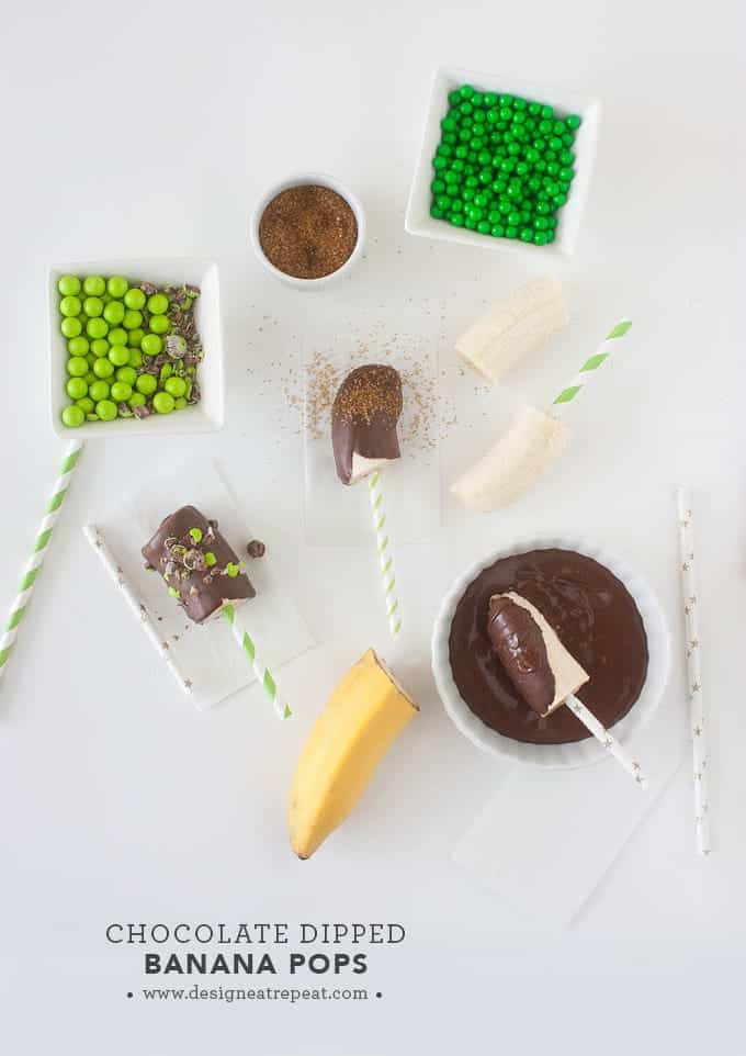 Chocolate Dipped Banana Pops | by Design Eat Repeat
