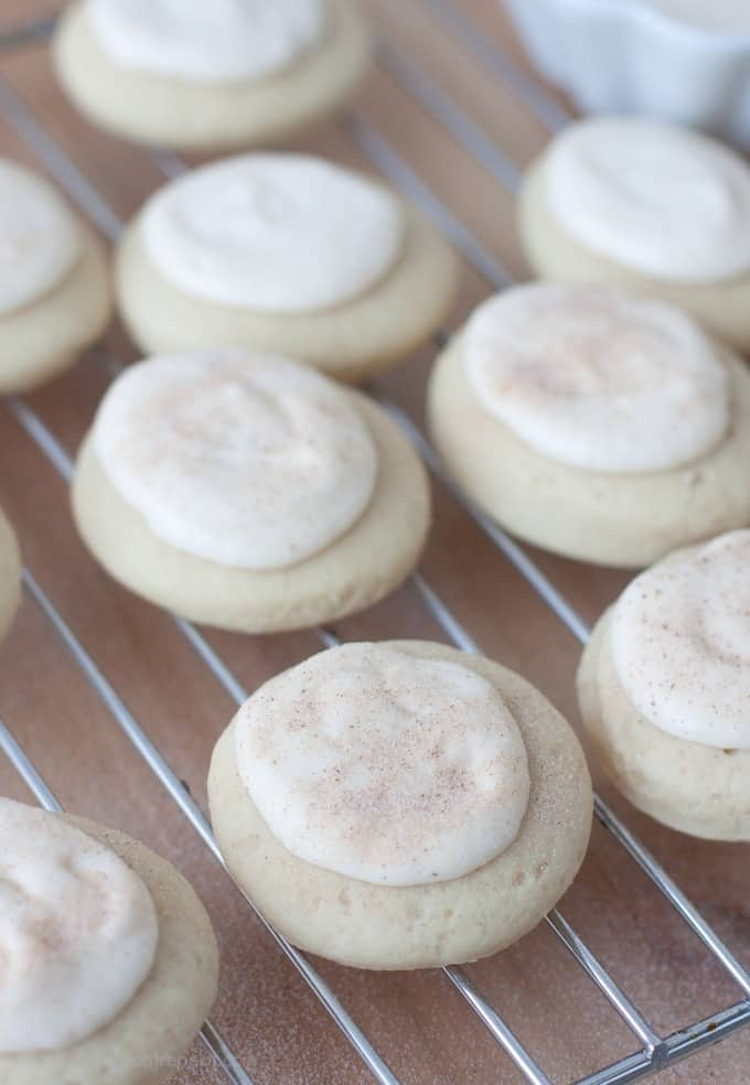 Soft Maple Cinnamon Sugar Cookie with Cream Cheese Maple Glaze on wire rack