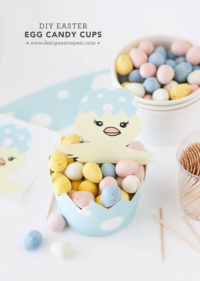 DIY Easter Egg Candy Cups   Get the Tutorial & Printable over at Design Eat Repeat