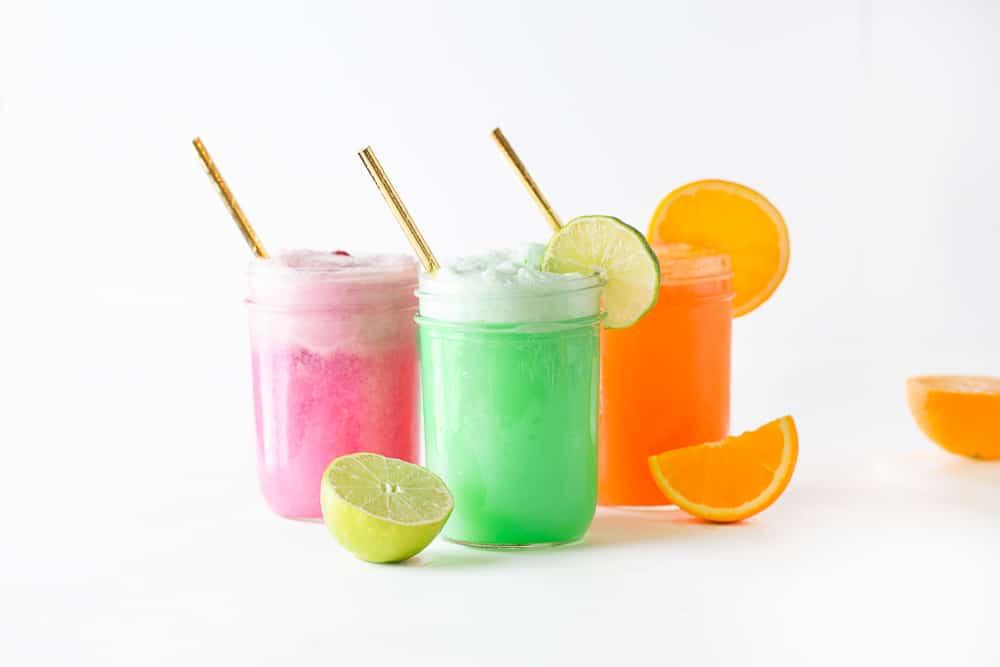 Raspberry, Lime, and Orange Sherbet in mason jars for DIY Punch Bar.
