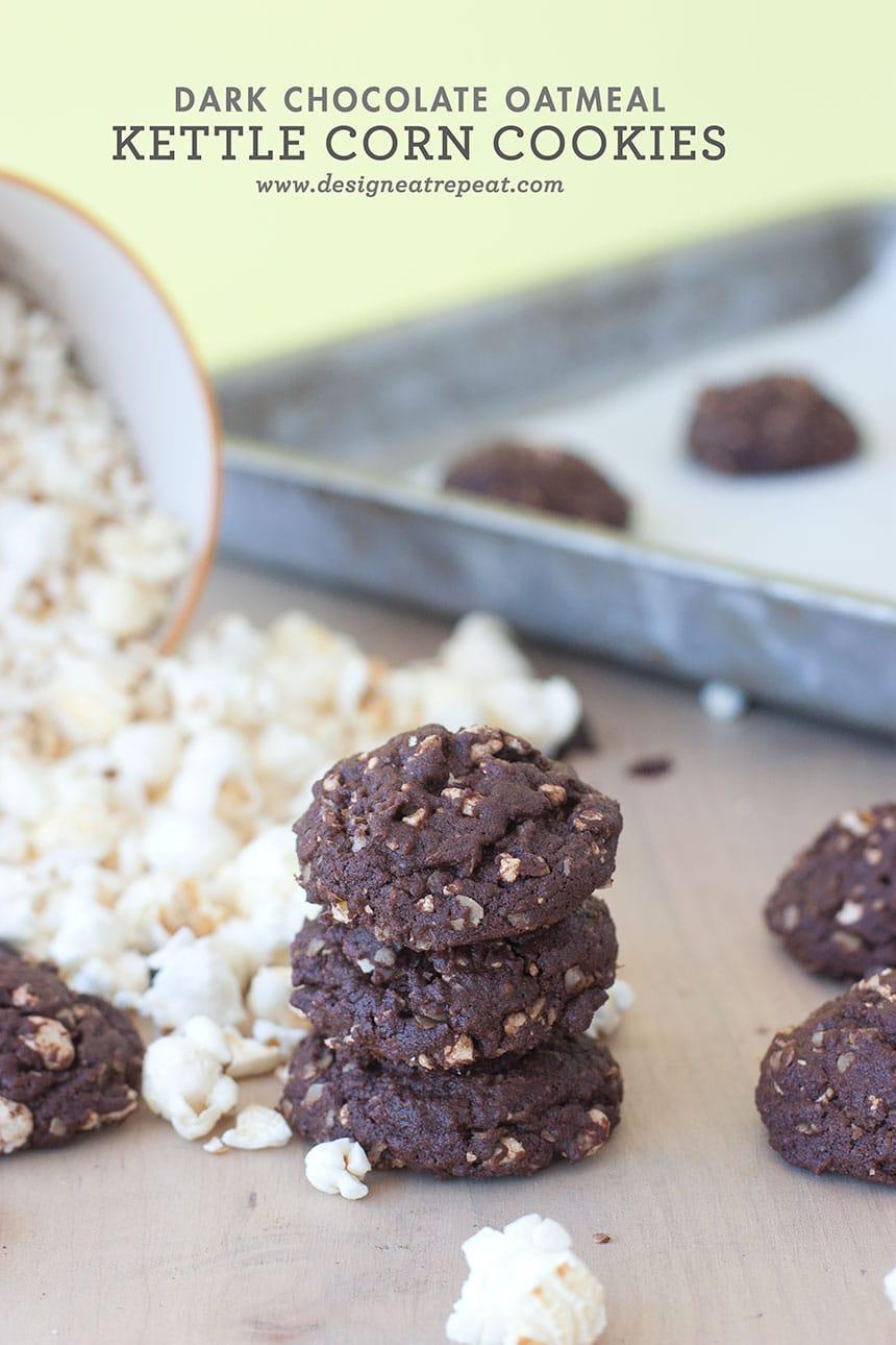 Dark Chocolate Kettle Corn Cookies by Design Eat Repeat