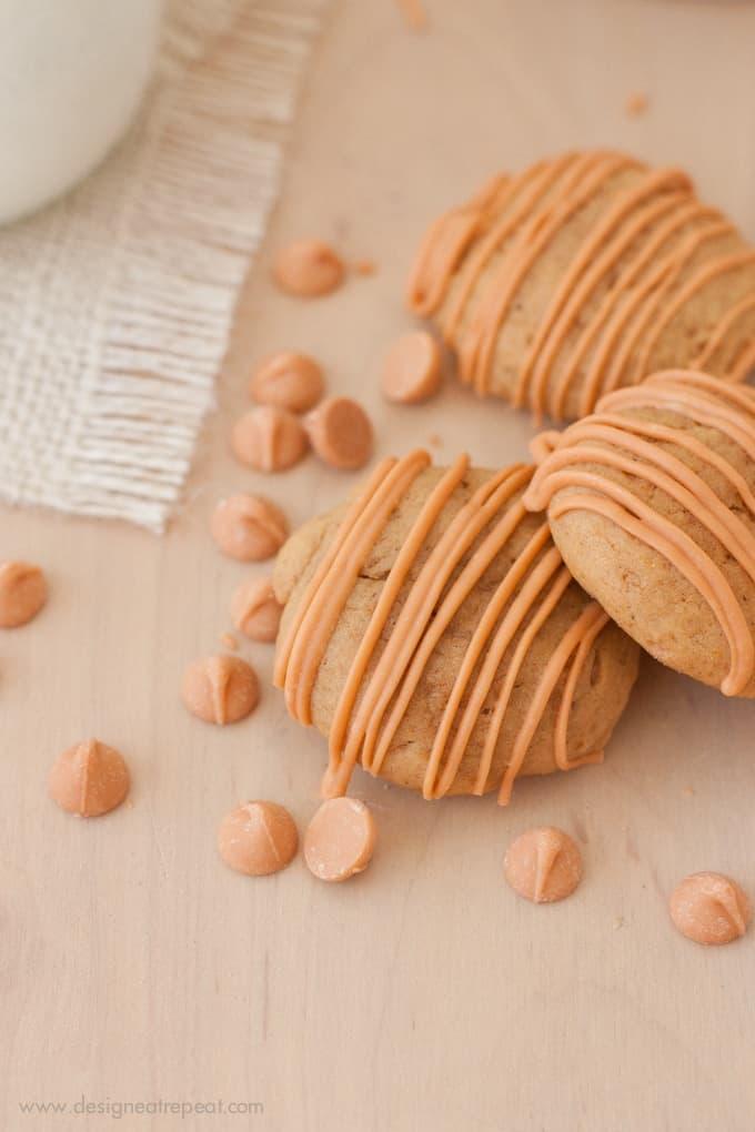 Soft Butterscotch Pumpkin Spice Cookies on wooden table