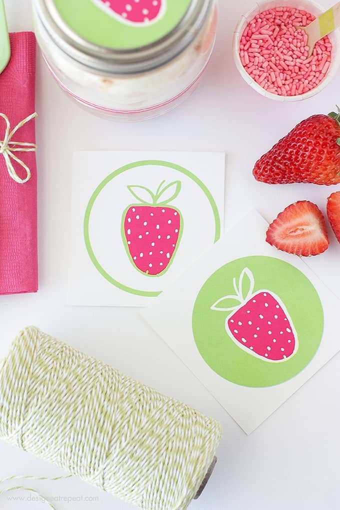 Download these FREE Strawberry Labels & learn How to Make DIY Angel Food & Strawberry Jars over at Design Eat Repeat
