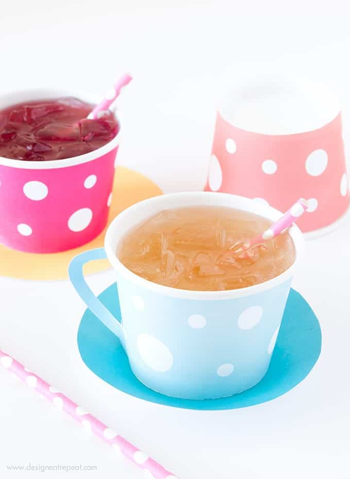 Download these free Tea Party Printables, attach to a paper icecream cup, and you have an instant tea cup! So fun!