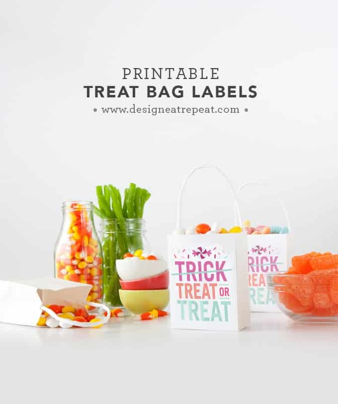 "Download these free printable ""Treat or Treat"" labels for a fun Halloween treat bag idea! By Design Eat Repeat"