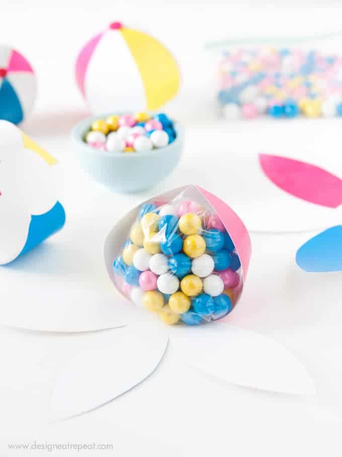 Download this free Beach Ball template to make an easy DIY Party Favor! Fill with candy, tape shut, and you're done!