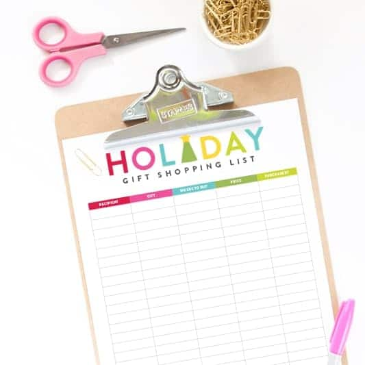 Free Printable Holiday Gift Shopping List