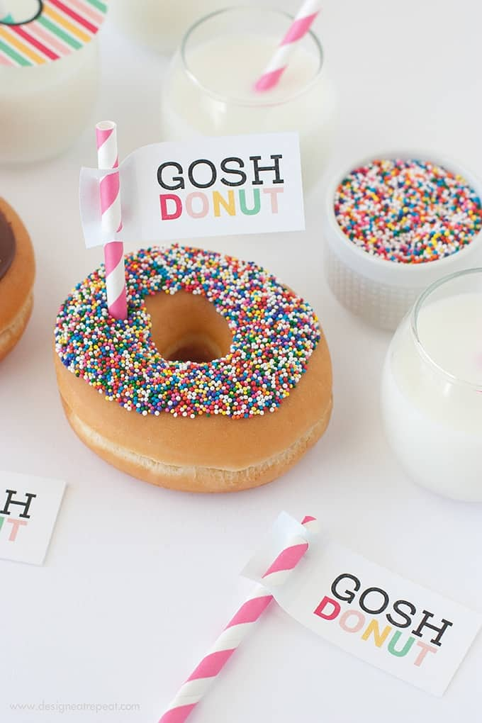 """Download this free printable """"Gosh Donut"""" tag & make your morning treat a whole lot sweeter!"""