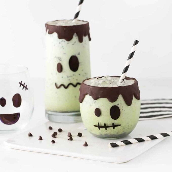 Mint chip ice cream milkshakes decorated like frankenstein