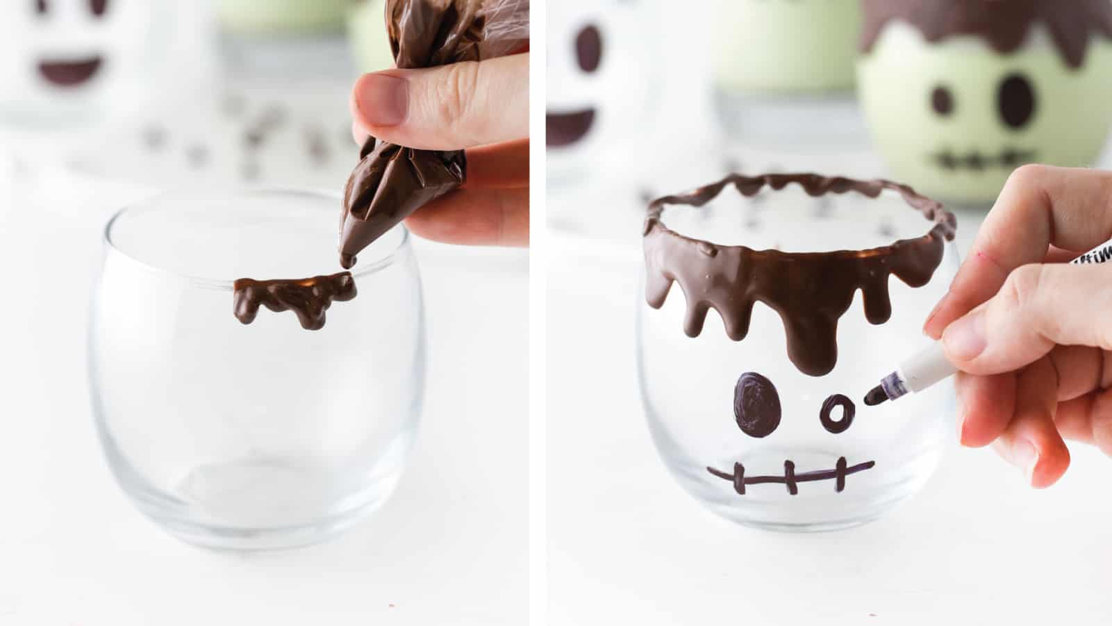 Hand piping chocolate over rim of glass cup. Hand drawing Frankenstein face on clear glass with permanent marker. Easy Halloween Milkshakes.