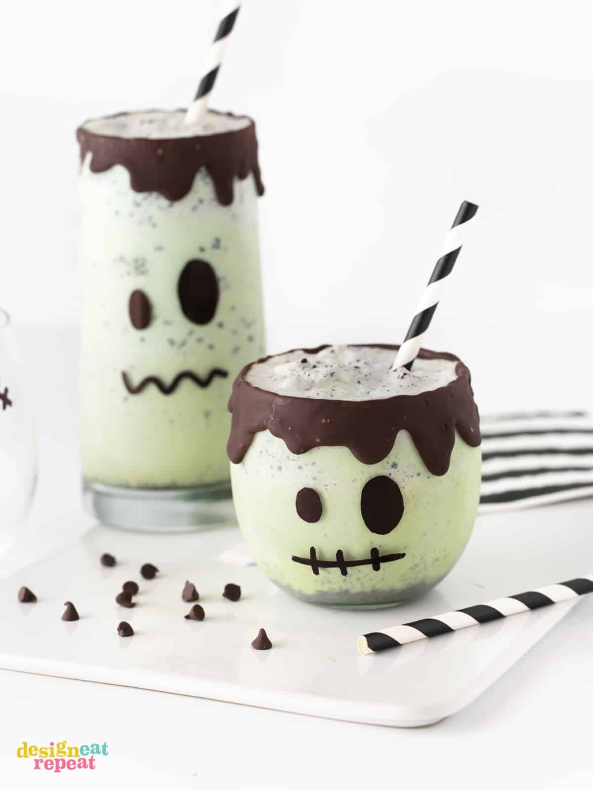 Mint Chip Frankenstein Halloween Milkshakes