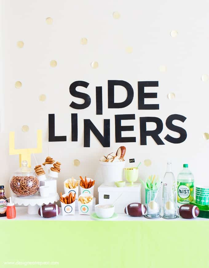 This blog has great tips (and free printables!) to create a fun football party spread!