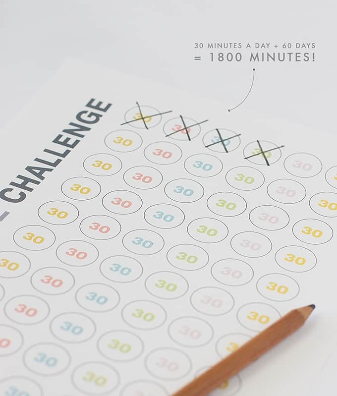 Free 1800 Minute Workout Printable Log | Track your progress in 30 minute increments. Simply work out 30 minutes a day, for 60 days, and you will have built up 1800 minutes of excercise!