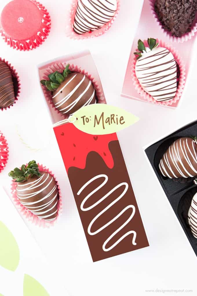 Free Printable Chocolate Covered Strawberry Valentine's Day Gift Boxes by Design Eat Repeat!